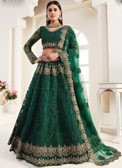Wonderful Green Net Embroidered Work Wedding Designer Lehenga Choli