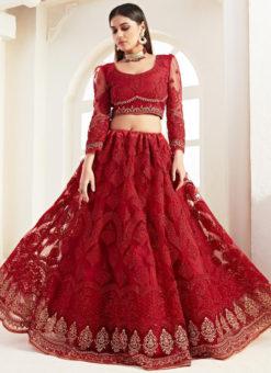 Gorgeous Red Net Embroidered Work Wedding Designer Lehenga Choli