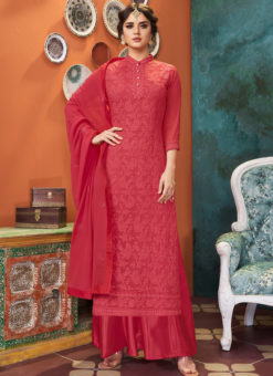 Luxurious Red Georgette Embroidered Work Designer Palazzo Suit
