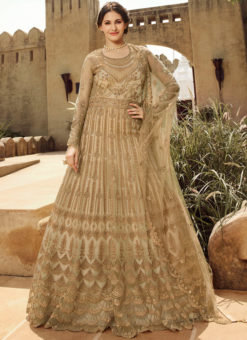 Beautiful Beige Net Embroidered Work Wedding Wear Designer Anarkali Suit