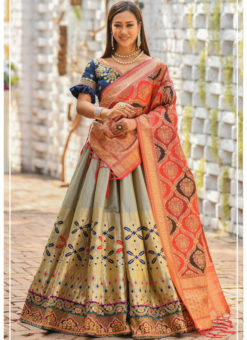 Grey Banarasi Silk Resham Work And Printed Designer Lehenga Choli