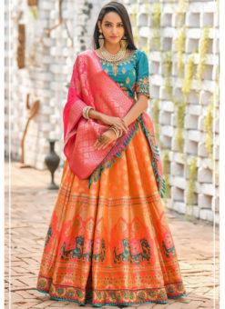 Orange Banarasi Silk Resham Work And Printed Designer Lehenga Choli