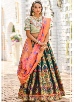 Bottel Green Banarasi Silk Resham Work And Printed Designer Lehenga Choli