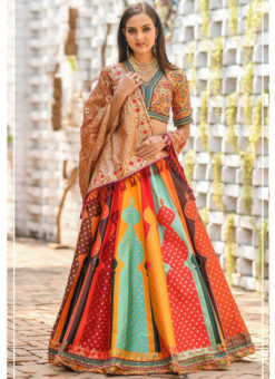 Multicolor Banarasi Silk Resham Work And Printed Designer Lehenga Choli