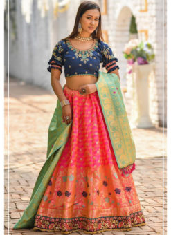 Pink Banarasi Silk Resham Work And Printed Designer Lehenga Choli