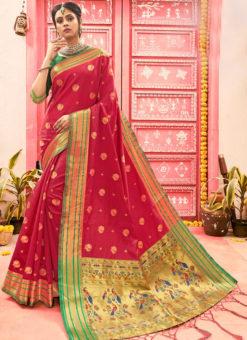 Designer Red Classic Wear Art Silk Saree