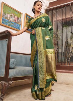 Designer Green Classic Wear Soft Silk Saree