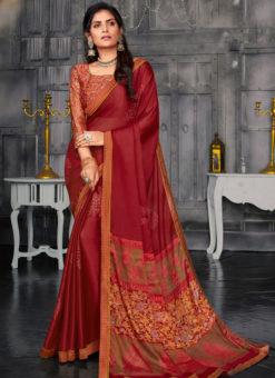 Dazzling Maroon Designer Chiffon Casual Wear Printed Saree