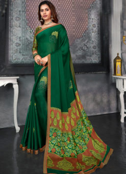 Shining Green Designer Chiffon Casual Wear Printed Saree
