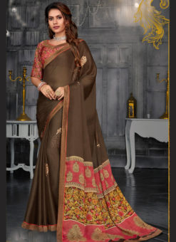 Superb Beige Designer Chiffon Casual Wear Printed Saree