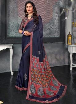 Awesome Navy Blue Designer Chiffon Casual Wear Printed Saree