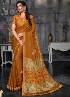 Stunning Musterd Designer Chiffon Casual Wear Printed Saree