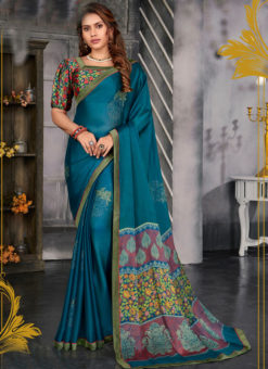 Amazing Teal Blue Designer Chiffon Casual Wear Printed Saree