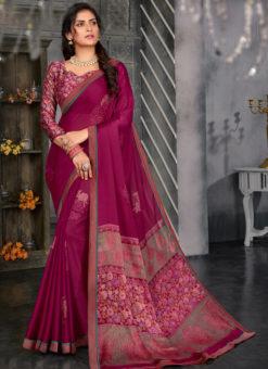 Wonderful Magenta Designer Chiffon Casual Wear Printed Saree