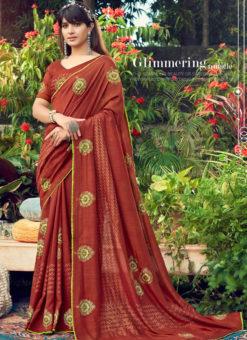 Pretty Rust Designer Chanderi Silk Casual Wear Saree