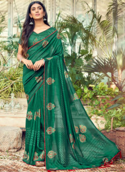Fetching Green Designer Chanderi Silk Casual Wear Saree