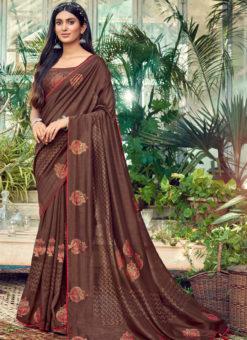 Amazing Coffe Designer Chanderi Silk Casual Wear Saree