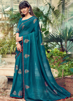 Awesome Teal Blue Designer Chanderi Silk Casual Wear Saree