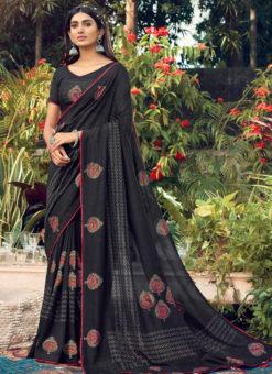 Attractive Black Designer Chanderi Silk Casual Wear Saree