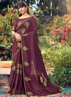 Excellent Coffe Designer Chanderi Silk Casual Wear Saree