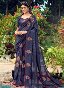 Elegant Navy Blue Designer Chanderi Silk Casual Wear Saree