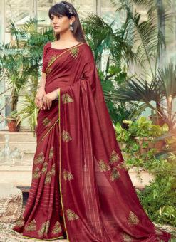 Alluring Maroon Designer Chanderi Silk Casual Wear Saree