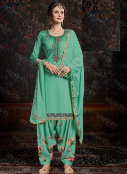 Amazing Sea Green Satin Cotton Embroidered Work Patiyala Salwar Suit