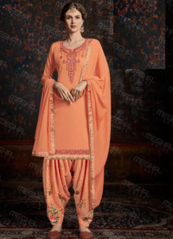 Lovely Orange Satin Cotton Embroidered Work Designer Patiyala Salwar Suit