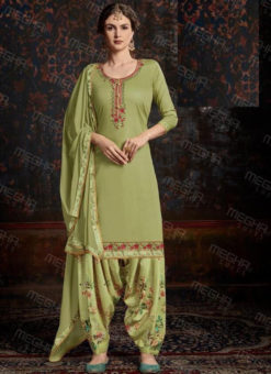 Alluring Green Satin Cotton Embroidered Work Designer Patiyala Salwar Suit