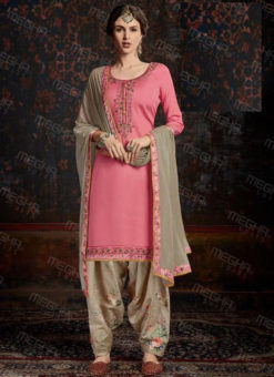 Dazzling Pink Satin Cotton Embroidered Work Designer Patiyala Salwar Suit