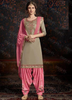 Elegant Beige Satin Cotton Embroidered Work Designer Patiyala Salwar Suit