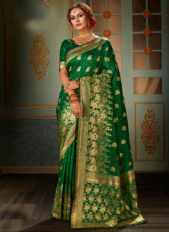 Elegant Green Banarasi Silk Zari Weaving Wedding Saree