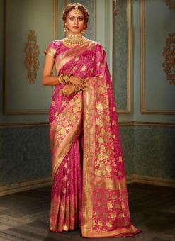 Wonderful Pink Banarasi Silk Zari Weaving Wedding Saree