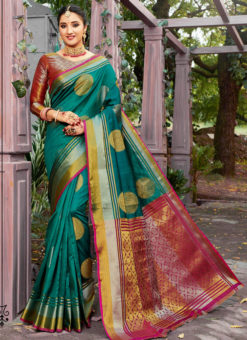 Beautiful Green Banarasi Silk Zari Weaving Traditional Saree