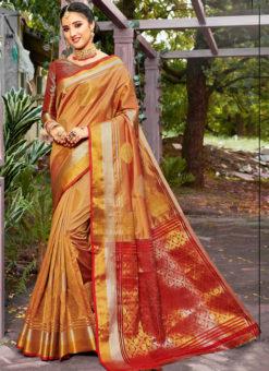 Alluring Golden Banarasi Silk Zari Weaving Traditional Saree