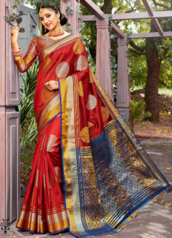 Lavish Red Banarasi Silk Zari Weaving Traditional Saree