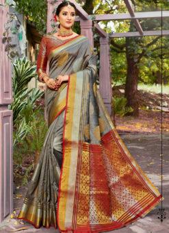Lovely Grey Banarasi Silk Zari Weaving Traditional Saree