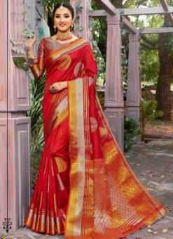 Classic Red Banarasi Silk Zari Weaving Traditional Saree