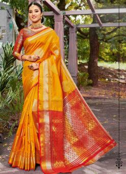 Wonderful Yellow Banarasi Silk Zari Weaving Traditional Sree