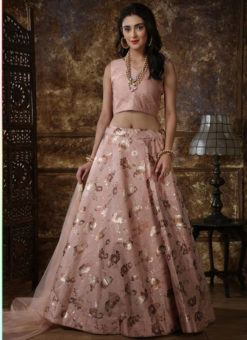 Imposing Pink Taffeta Silk Zari Print Party Wear Designer Lehenga Choli