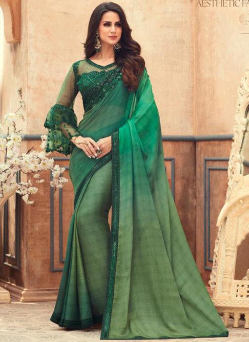 Green Chiffon Digital Printed Party Wear Designer Saree