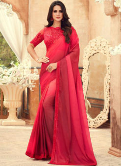 Red Shaded Chiffon Digital Print Party Wear Designer Saree