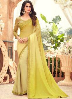 Lemon Yellow Chiffon Digital Print Party Wear Designer Saree