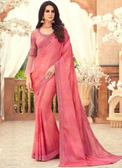 Pink Chiffon Digital Print Party Wear Designer Saree