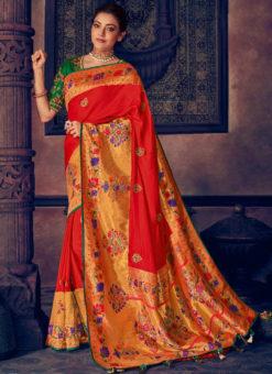 Red Silk Jacquard Designer Wedding Saree
