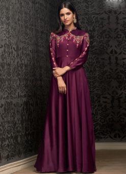 Elegant Purple Georgette Embroidered Work Party Wear Designer Gown