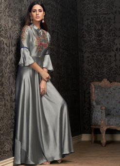 Lovely Grey Georgette Embroidered Work Party Wear Designer Gown