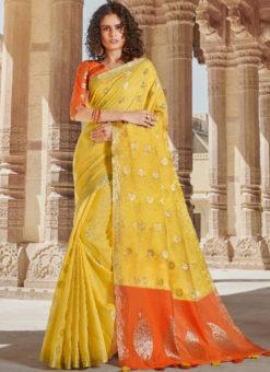 Yellow Linen Zari Weaving Traditional Designer Saree