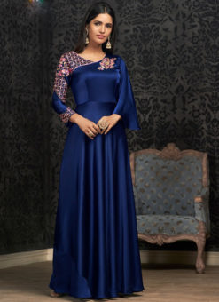 Royale Blue Georgette Embroidered Work Party Wear Designer Gown