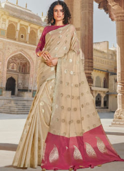 Beige Linen Zari Weaving Traditional Designer Saree
